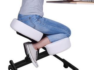 DRAGONN Ergonomic Kneeling Chair  Adjustable Stool for Home and Office  Angled Posture Seat  White  DN CH K01W