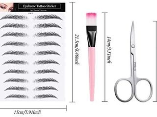 90 Pairs 9 Sheets 4D Hair like Authentic Eyebrows Waterproof Imitation Eyebrow Tattoo Stickers Brow Makeup Tools with Scissors and Eyebrow Brush for Women Girls