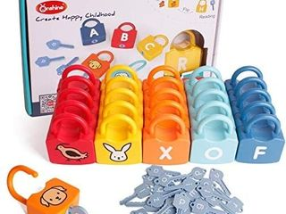 Dinhon ABC learning lock Educational letter Combination with 26 locks  26 Keys Montessori Preschool Alphabet learning Game Early Education Toys