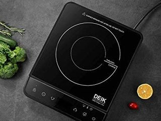 Portable Induction Cooktop  Deik 1800W Full Color Touchscreen Interface Induction Cooker with 10 Temperature   15 Power level Settings  Induction Burner with Timer  and Child Safety lock  Black