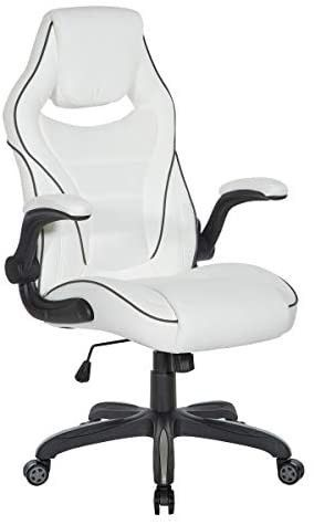 OSP Furniture Xeno Ergonomic Adjustable Gaming Chair  White with Black Accents