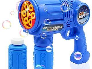 CREFUN Ultimate Bubble Gun Bubble Blaster a Blue SB9312 light Up Bubble Blower Safe Durable Simple Handheld Bubble Machine Bubble Toys for Kids Party Favor Birthday Including 2 Bubble Solution