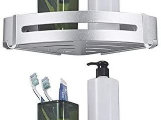 BESy Shower Corner Caddy Bathroom Shower Corner Shelf with Two Hooks  Self Adhesive with Glue or Wall Mount with Screws Heavy Duty Aluminum 2 Tier Storage Shelves Triangle Baskets Dull Polished Silver