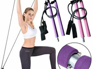 Pilates Exercise Stick Fitness Resistance Bands Rope Puller Bar For Abdominal Pink