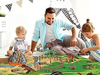 Dinosaur Volcano Figures Toy with Mat Educational Mist spouting Volcano Playset with Realistic Dinosaurs Stone and Tree to Create a Dino World Party Gifts for Kids Toddler Boys and Girls
