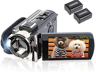 Video Camera Camcorder Digital Camera Recorder kicteck Full HD 1080P 15FPS 24MP 3 0 Inch 270 Degree Rotation lCD 16X Zoom Camcorder with 2 Batteries 604s