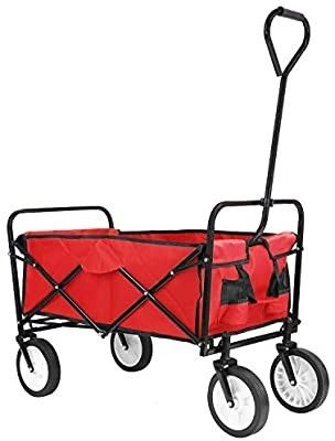 Collapsible Outdoor Utility Wagon  Heavy Duty Folding Garden Portable Hand Cart  with 8  Rubber Wheels and Drink Holder  Suit for Shopping and Park Picnic  Beach