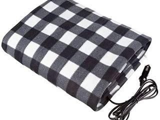 Prettywan Heated Electric Blanket 12V Car Heated Travel Blanket lattice Grid Pattern