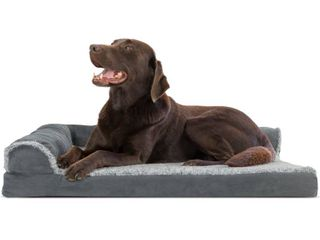 FurHaven Pet Dog Bed Deluxe Orthopedic Faux Fur   Suede l Shaped Chaise Couch Pet Bed for Dogs   Cats  Stone Gray  large