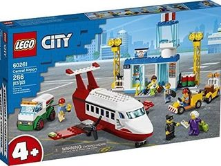 lEGO City Central Airport 60261 Building Toy  with Passenger Charter Plane  Airport Building  Fuel Tanker  Baggage Truck  Cargo and 6 Minifigures  Great Gift for Kids  New 2020  286 Pieces
