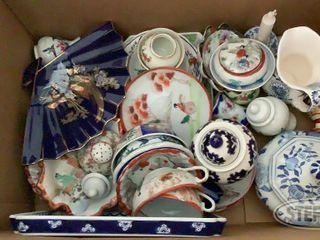Box of Ceramic Oriental Cups Saucers Bowls 0 jpg
