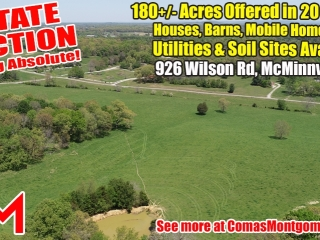 SELLING ABSOLUTE! 180+/- Acres Offered in 20 Tracts - House, Barns, Outbuildings, Mobile Home, 2 Ponds in McMinnville - Estate Auction June 12th