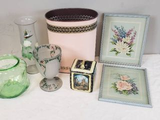 Vintage Home Decor  Framed Floral Prints  Vintage Metal Waste Can  Decor Tin  and Hand Painted   Etched Glass Vases