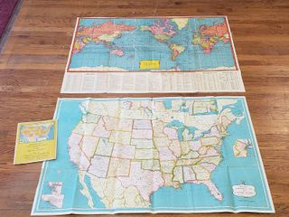 2 Vintage Fold Up Maps  The World  50 x 35 in    prior to WWII  and Hammond s Continental Map of US  1950s  w Reference Book