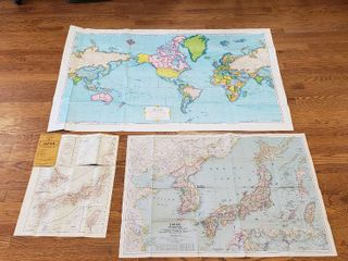 3 Vintage Fold Up Maps  Imperial World  52 x 35 in    Rand McNally  Cram s Map of Japan  1940 s  and Nat  Geo  Magazine Map of Japan   Korea  1945   36 x 24 in