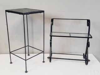 Metal   Glass Shelf Towel Rack  20 x 10 x 20 in  tall  and Metal   Tile Square Plant Stand  11 x 24 in  tall