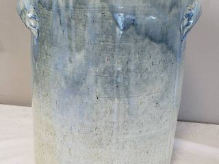 Drip Glaze large Crock   12 in  diameter x 16 in  tall   made by Sarah Gillingham