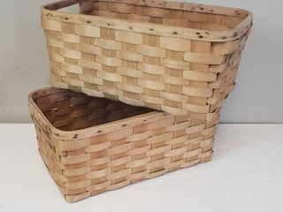 2 Vintage large Rectangular Baskets   made by Baskerville  Putney  VT   23 5 X 13 X 10 in  deep