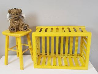 Yellow Slat side Crate  26 x 18 x 14 in  tall  Yellow Wood Stool   11 5 x 11 5 x 18 in  tall  and Angel Bear   Resin 11 in  tall