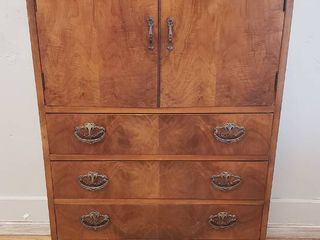 Antique Wardrobe Chest   4 Drawers   2 Shelves   28 x 17 x 49 5 in  tall