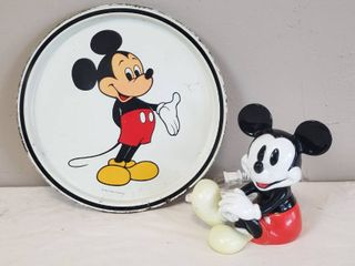 Vintage Mickey Mouse Collectible Decor  Sitting Mickey Schmid Night light   6 5 in tall  works  and Vintage Metal Walt Disney Productions Standing Mickey Tray  11 in  diameter