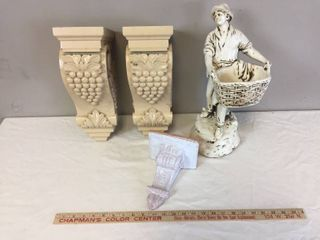 Pair of Heavy Wood Corbel wall shelves  Small glazed terra cotta wall shelf  Plaster Harvester Statue