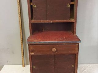 Vintage Salesman Sample Childs Wood Kitchen Cabinet  with linoleum top   Metal trim