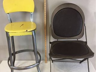 Vintage Metal Chairs   Cosco Stool with Yellow Seat   Back and Hostess Folding Chair with vinyl seat   back insets