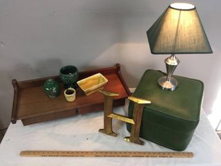 Vintage Home Decor   Olive Naugahyde ottoman 14inx14inx10inT  Small brushed silver lamp   works  H wall plaque  Yellow   Green Ceramics  Wood Wall Desk with 2 drawers