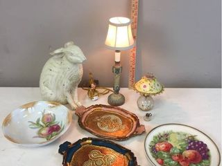 Vintage China Transferware  Painted Wood Trays  Antique painted Mini oil lamp  Candlestick lamp   works  lg Resin Rabbit