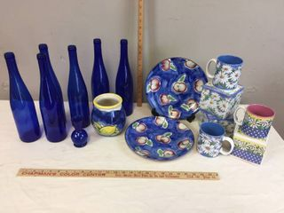 6 Cobalt glass bottles  Sm  vase  Fruit Dishes  NIB Daisy mugs