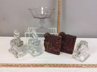Heavy Glass Horses  Vintage Syroco Wood Stagecoach bookends  Glass Horse Head  Pedestal Bowl with lions Head pedestal bowl