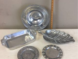 5 pcs of Heavy Metal Pewter Serveware  One marked Wilton Armatale