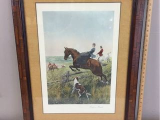 Antique 19th Century Hand colored lithograph Print Titled  In For A Brush  Painted by Thomas Blinks  Custom Parquet Wood Frame