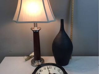 Wood Column lamp w brushed metal accents   works  large Contemporary Black Pottery Vase  Round Black Frame B O clock   works