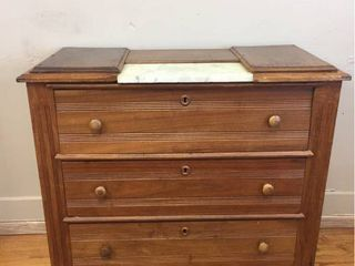 Antique Wood 3 drawer Gentleman s Dresser w marble front insert  No key  40inW x 35inT x 18inD