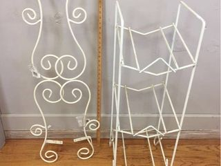 Vintage White Iron Drug Store Magazine Rack  Pair White Iron Valance toppers
