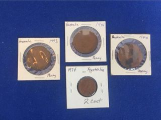 4 Coins from Australia 1943 1974  Penny   2 Cent