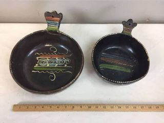 2 Pcs of Vintage Mexican Pottery   Handled Bowls