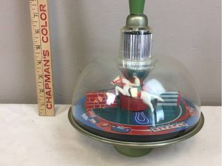 Vintage 1960 70 s RUSSIAN KP Company   Metal Plastic Push   Pull Jumping Horse Spinning Toy Top 9 Tall   Pristine Condition