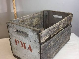 Vintage Wood Crate Stamped PMA