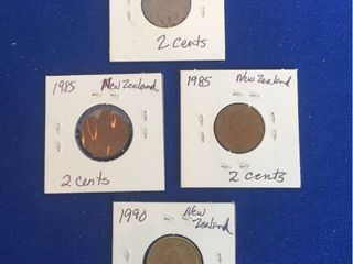 4 Coins from New Zealand 1973 1990  2 Cent  1 Dollar