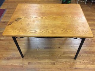 Small dining table with Wood Top   Metal Base  46inW x 36inW x 32in T