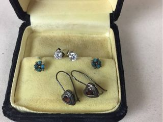 Sterling Jewelry  Turquoise Stud earrings  Garnet Heart Earrings  CZ Studs