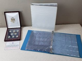 Coin Holders  Presidential Quarters Wood Case and 2 Binders with Coin Holder Sleeves