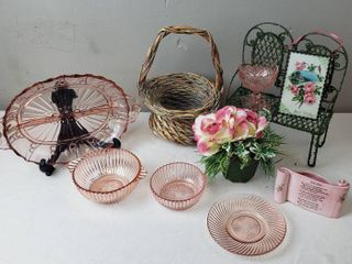 Garden Theme Decor  Pink Roses  Mini Garden Bench  Basket and Pink Depression Glass Dishes  plate easel not included