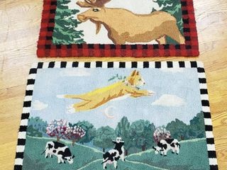 2 Themed Area Rugs  Moose and Cat jumped over the Moon   Approximately 2ft x 3ft