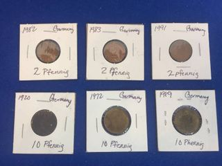 6 Coins from Germany  1982 1991 2 Pfennig  1920 1989 10 Pfennig