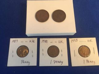 5 Coins from the U K  1937 1938 Half Penny  1987 1993 1 Penny