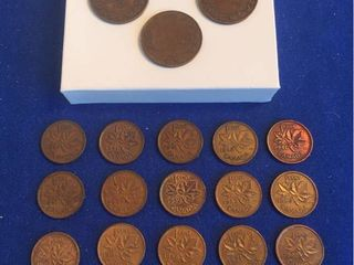 21 Coins from Canada  1926 1993 All 1 Cent